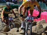 Rebecca Henderson of Australia competes during the Women's Cross-country Mountain Bike race on Day 15