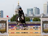 Ed Fernon of Australia riding Chatte Van T Welthof competes in the Riding Show Jumping during the Men's Modern Pentathlon on Day 15 of the London 2012 Olympic Games on August 11, 2012 in London, England.