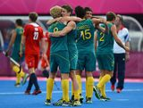Players of Australia celebrate their victory against Great Britain after the Men's Hockey bronze medal match on Day 15 of the London 2012 Olympic Games at Hockey Centre on August 11, 2012 in London, England.