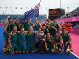 The Hockeyroos celebrate their victory against Great Britain and pose for a photograph after the Men's Hockey bronze medal match on Day 15 of the London 2012 Olympic Games at Hockey Centre on August 11, 2012 in London, England.