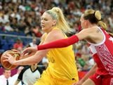 Lauren Jackson #15 of Australia drives against Natalya Vieru #11 of Russia during the Women's Basketball Bronze Medal game on Day 15 of the London 2012 Olympic Games at North Greenwich Arena on August 11, 2012 in London, England.