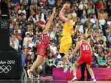 Lauren Jackson #15 of Australia attempts a shot in the second half against Anna Petrakova #13 and Ilona Korstin #10 of Russia during the Women's Basketball Bronze Medal game on Day 15 of the London 2012 Olympic Games at North Greenwich Arena on August 11, 2012 in London, England.