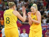 (L-R) Suzy Batkovic #8 and Lauren Jackson #15 of Australia celebrate after they won 83-74 against Russia during the Women's Basketball Bronze Medal game on Day 15 of the London 2012 Olympic Games.