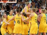 Suzy Batkovic (C) #8 and Lauren Jackson #15 of Australia embrace as they celebrate with their teammates after they won 83-74 against Russia during the Women's Basketball Bronze Medal game on Day 15 of the London 2012 Olympic Games.