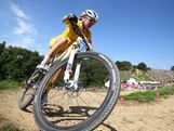 Rebecca Henderson of Australia during the Women's Cross-country Mountain Bike race on Day 15