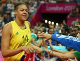 Liz Cambage #14 of Australia celebrates after they won 83-74 against Russia during the Women's Basketball Bronze Medal game on Day 15 of the London 2012 Olympic Games at North Greenwich Arena on August 11, 2012 in London, England.