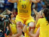 Kristi Harrower #10 of Australia celebrates with teammates including Abby Bishop (L) and Lauren Jackson #15 (R) after they won 83-74 agaist Russia during the Women's Basketball Bronze Medal game on Day 15 of the London 2012 Olympic Games at North Greenwich Arena on August 11, 2012 in London, England.