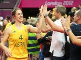Jenna O'Hea #4 of Australia celebrates with fans after they won 83-74 against Russia during the Women's Basketball Bronze Medal game on Day 15 of the London 2012 Olympic Games at North Greenwich Arena on August 11, 2012 in London, England.