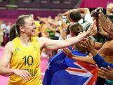 Kristi Harrower #10 of Australia celebrates with fans after they won 83-74 against Russia during the Women's Basketball Bronze Medal game on Day 15 of the London 2012 Olympic Games at North Greenwich Arena on August 11, 2012 in London, England.