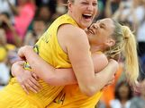 (L-R) Suzy Batkovic #8 and Lauren Jackson #15 of Australia celebrate after they won 83-74 against Russia during the Women's Basketball Bronze Medal game on Day 15 of the London 2012 Olympic Games at North Greenwich Arena on August 11, 2012 in London, England.