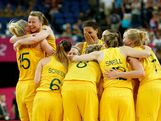 (L-R) Lauren Jackson #15 and Kristi Harrower #10 of Australia celebrate with teammates after they won 83-74 against Russia during the Women's Basketball Bronze Medal game on Day 15 of the London 2012 Olympic Games at North Greenwich Arena on August 11, 2012 in London, England.