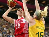 Irina Osipova #12 of Russia drives for a shot attempt against Lauren Jackson #15 of Australia during the Women's Basketball Bronze Medal game on Day 15 of the London 2012 Olympic Games at North Greenwich Arena on August 11, 2012 in London, England.