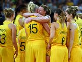 Lauren Jackson #15 and Kristi Harrower #10 of Australia embrace as they celebrate after their 83-74 win against Russia during the Women's Basketball Bronze Medal game on Day 15 of the London 2012 Olympic Games at North Greenwich Arena on August 11, 2012 in London, England.