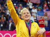 Lauren Jackson #15 of Australia celebrates with her bronze medal during the medal ceremony for the Women's Basketball on Day 15 of the London 2012 Olympic Games.
