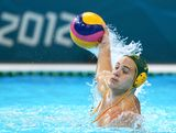Aiden Roach of Australia looks to pass in the Men's Classification 7th-8th place match between the United States and Australia on Day 16 of the London 2012 Olympic Games at the Water Polo Arena on August 12, 2012 in London, England.