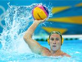 Billy Miller of Australia looks to pass in the Men's Classification 7th-8th place match between the United States and Australia on Day 16 of the London 2012 Olympic Games at the Water Polo Arena on August 12, 2012 in London, England.