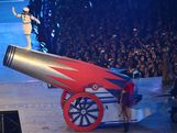 LONDON, ENGLAND - AUGUST 12:  A human cannonball is seen during the Closing Ceremony on Day 16 of the London 2012 Olympic Games at Olympic Stadium on August 12, 2012 in London, England.