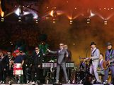 Chas Smash and Lead singer Graham Suggs McPherson of Madness during the Closing Ceremony on Day 16 of the London 2012 Olympic Games at Olympic Stadium on August 12, 2012 in London, England.