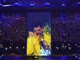 The late Freddie Mercury is displayed on screen during the Closing Ceremony on Day 16 of the London 2012 Olympic Games at Olympic Stadium on August 12, 2012 in London, England.