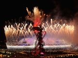 Fireworks are seen over the Olympic Stadium during the Closing Ceremony on Day 16 of the London 2012 Olympic Games at Olympic Stadium on August 12, 2012 in London, England.
