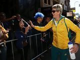 Natalie Cook interacts with the public during the Australian Olympic Team Homecoming Parade in the Sydney CBD on August 20, 2012 in Sydney, Australia.