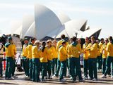 Australian Olympic Team members attend the Australian Olympic Team Homecoming Parade in the Sydney CBD on August 20, 2012 in Sydney, Australia.