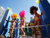 Brazilian performers act during the Australian Olympic Team Homecoming Parade in the Sydney CBD on August 20, 2012 in Sydney, Australia.