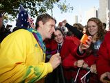 Jacob Clear interacts with the public during the Australian Olympic Team Homecoming Parade in the Sydney CBD on August 20, 2012 in Sydney, Australia.