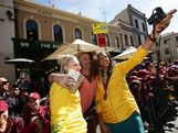 Lauren Jackson (L) and Liz Cambridge (R) interact with the public during the Australian Olympic Team Homecoming Parade in the Sydney CBD on August 20, 2012 in Sydney, Australia.