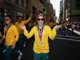 Nina Curtis celebrates during the Australian Olympic Team Homecoming Parade in the Sydney CBD on August 20, 2012 in Sydney, Australia.