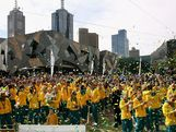 Athletes look on during the Australian Olympic Team Homecoming Parade at Federation Square on August 22, 2012 in Melbourne, Australia.