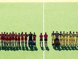 The teams line up during the national anthem before the start of the Women's Hockey match between Australia and Great Britain on day one of the 2013 Australian Youth Olympic Festival at the Hockey Centre at Sydney Olympic Park Sports Centre on January 16, 2013 in Sydney, Australia.
