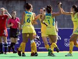 The Australian team celebrates after Murphy Allendorf scored the first goal for Australia during the Womens Hockey match between Australia and Great Britain on day one of the 2013 Australian Youth Olympic Festival at the Hockey Centre at Sydney Olympic Park Sports Centre on January 16, 2013 in Sydney, Australia.