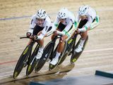 The Australian Team led by Kelsey Robson, Lauren Perry and Josie Talbot compete in the Women's U19 3000m Team Puruit Qualifications during day two of the 2013 Australian Youth Olympic Festival at Dunc Gray Velodrome on January 17, 2013 in Sydney, Australia.