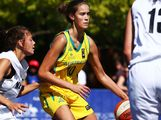 Victoria Unicomb of Australia Green in action in action in the Womens Basketball 3x3 match between Australia Green and New Zealand during day two of the 2013 Australian Youth Olympic Festival at Darling Harbour on January 17, 2013 in Sydney, Australia.