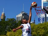 Dwayne Lautier-Ogunley of Great Britain drives to the basket in the Mens Basketball 3x3 match between Great Britain and China during day two of the 2013 Australian Youth Olympic Festival at Darling Harbour on January 17, 2013 in Sydney, Australia.