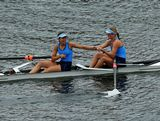 Jessie Allen and Genevieve Horton of New South Wales celebrate winning the Women's Coxless Pair at the rowing on day four of the Australian Youth Olympic Festival at Sydney International Regatta Centre on January 19, 2013 in Sydney, Australia.