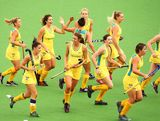 Australia celebrate a goal by Kathryn Slattery in the Women's Hockey Final between Australia and China at Sydney Olympic Park Hockey Centre on January 20, 2013 in Sydney, Australia.