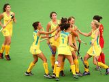 Australia celebrates winning the Women's Hockey Final between Australia and China at Sydney Olympic Park Hockey Centre on January 20, 2013 in Sydney, Australia.