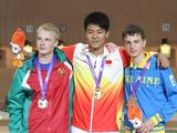 From LefT:Silver medllist, Illia Charheika of Belarus, Gold medalist, Gao Ting Jie of China and Bronze medalist, Serhiy Kulish of Ukraine, gesture after the victory ceremony 10m air rifle final of the Singapore 2010 Youth Olympic Games.