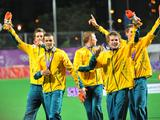 Members of Australia's boys hockey team celebrate their victory over Pakistan during the boys hockey gold medal match of the Singapore 2010 Youth Olympic Games (YOG) played at the Sengkang Stadium, Aug 25, 2010. Australia defeated Pakistan to win the gold with a score of 2-1.