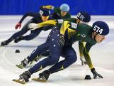Pierre Boda of Australia leads the field in the Men's 1500m Final during the Short Track Speed Skating Australian Open Championships on August 30, 2013 in Melbourne, Australia.