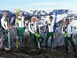Members of the Australian cross country skiing team Esther Bottomley, Aimee Watson, Paul Kovacs,Anna Trnka and Phillip Bellingham pose during a national team portrait session on September 8, 2013 in Falls Creek, Australia.