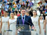 ATHENS, GREECE - OCTOBER 05: Deputy Prime Minister of the Russian Federation, Mr Dmitry Kozak speaks during the Olympic Torch Handover Ceremony, on October 05, 2013 in Athens, Greece.