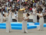 Dance of the Priestesses during the Olympic Torch Handover Ceremony, on October 05, 2013 in Athens, Greece.