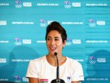 Lydia Lassila of Australia speaks to the media during the Australian Winter Olympics Games press conference at Museum of Contemporary Art on October 30, 2013 in Sydney, Australia.