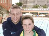 Olympic 10m platform champion Matthew Mitcham gives some advice to Hannah Thek who will represent Australia at the Youth Olympic Games in Singapore in August. Photo credit: FOXTEL / Ben Symons
