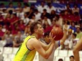 Andrew Gaze takes a free throw during Australia's 88-66 win over China. The Boomers finished the tournament ranked 6th.
