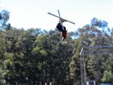 Mogul skier Matt Graham trains for the Winter Olympics on a water jump facility.