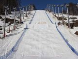 The Sochi moguls course set up for the official test event a year out from the Sochi 2014 Winter Olympic Games.
